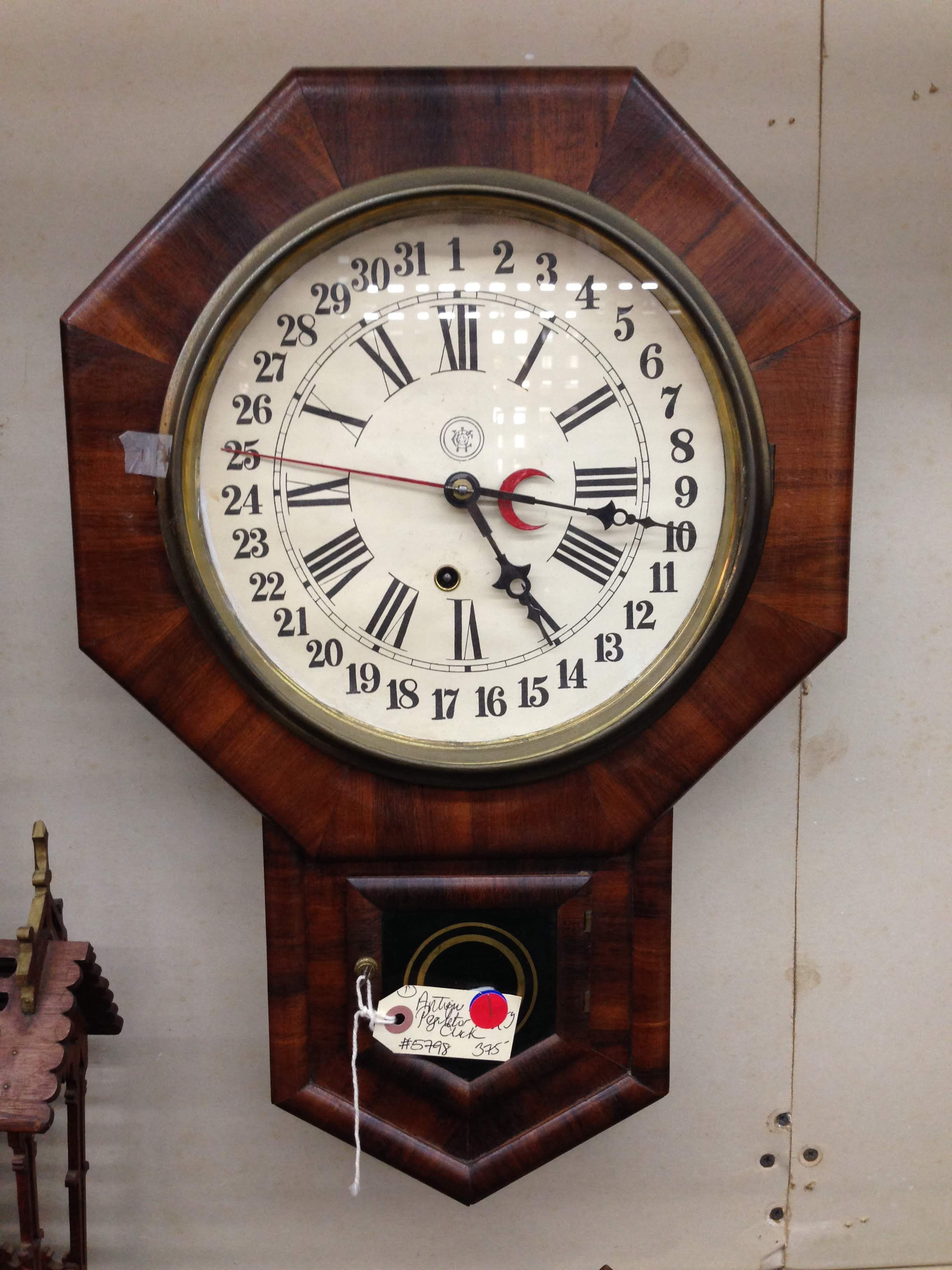 Antique Waterbury Regulator Wall Clock